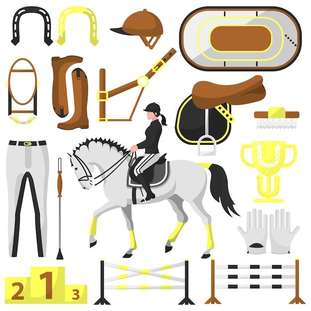 Vektorausrüstung für reiten, reiter Premium Vektoren