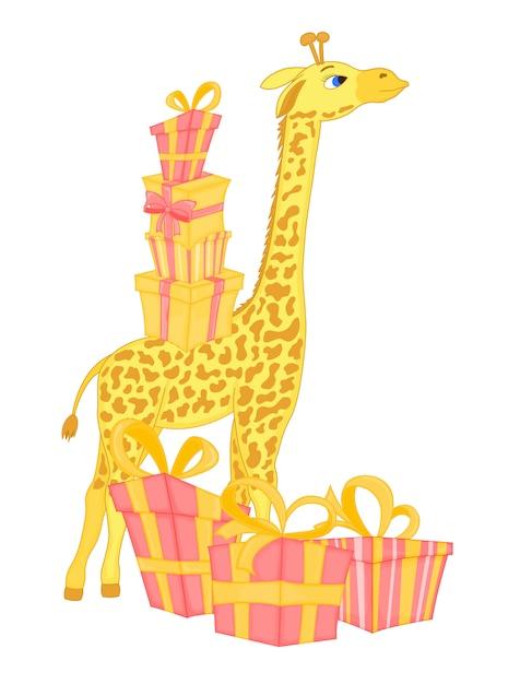 Vektorbild der giraffe mit geschenken und ballon Premium Vektoren