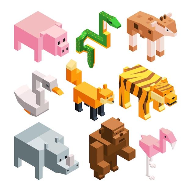 Vektorbilder eingestellt von den lustigen stilisierten tieren. Premium Vektoren