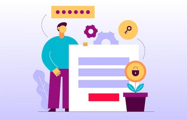 Vektordatenverschlüsselungs-webseitenonlinefahne Premium Vektoren