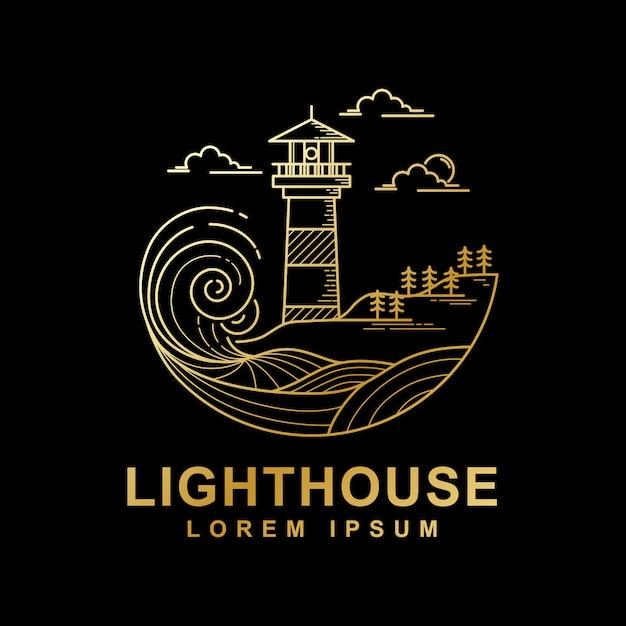 Vektordesign der goldenen farbe des leuchtturmes Premium Vektoren