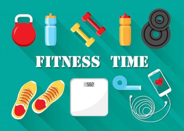 Vektoreignung und sport motiviert. trainingsgeräte isoliert. diät und gesundes lebensstilkonzept. Premium Vektoren