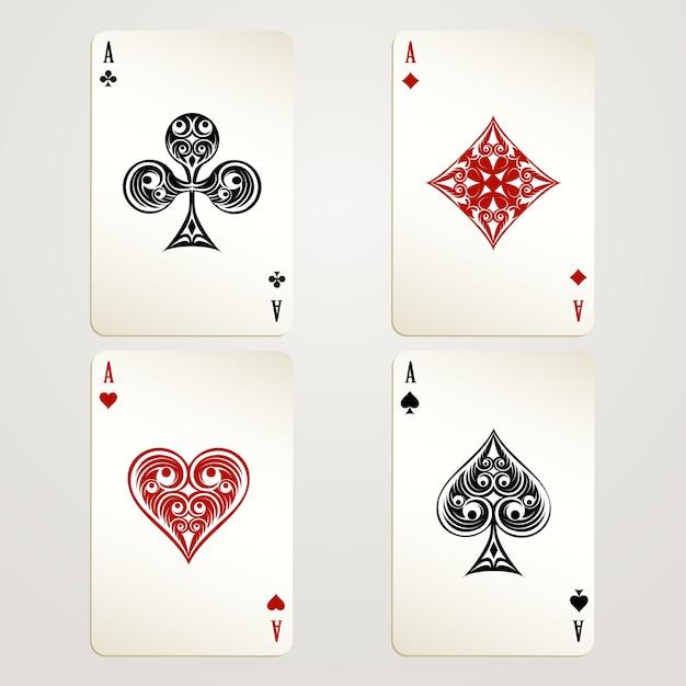 Vektorentwürfe der vier asse spielenden karten, die jede der vier farben in der roten und schwarzen konzeption eines kasinos und des spielens zeigen Kostenlosen Vektoren
