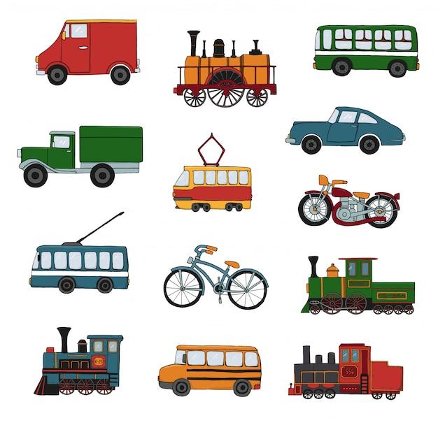 Vektorfarbsatz retro- motoren und transport Premium Vektoren