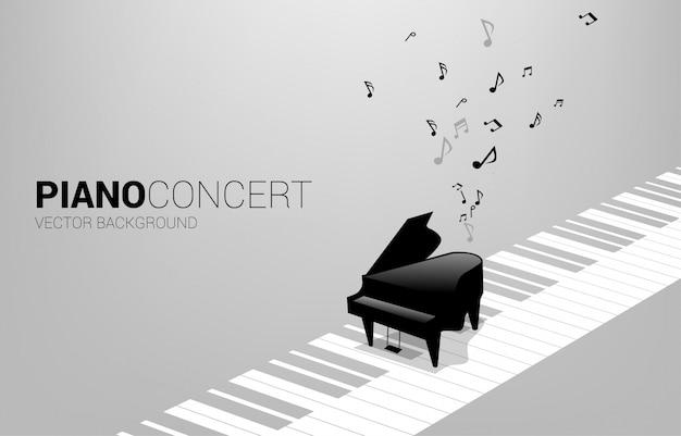 Vektorflügel mit auf klaviertaste und musiknote. konzepthintergrund für lied- und konzertthema. Premium Vektoren