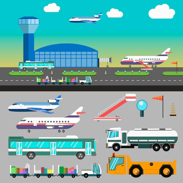 Vektorflughafenillustration mit flugzeug. Premium Vektoren