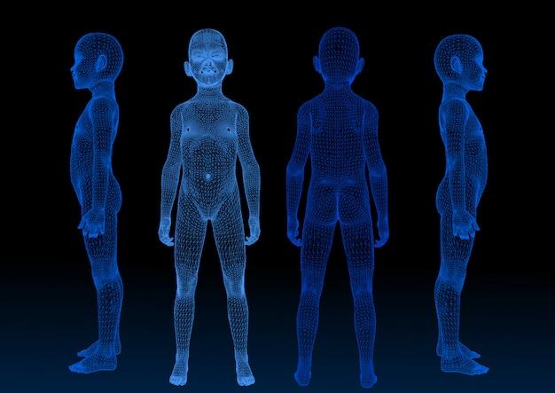Vektorform, blaue scan-technologie des babys 3d Premium Vektoren