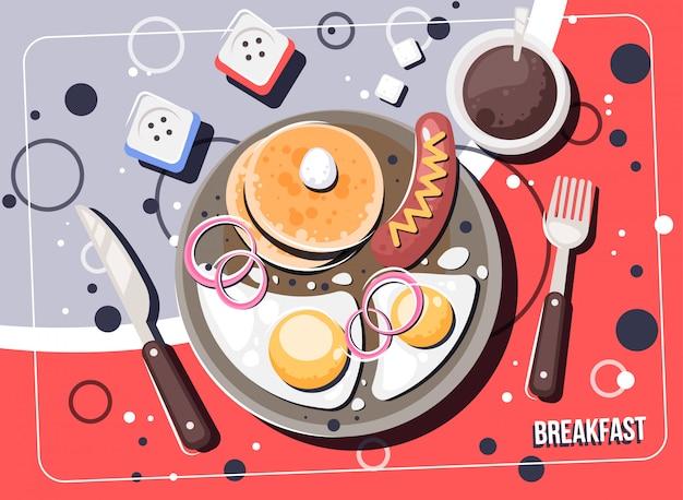 Vektorfrühstück mit nahrung und getränken. frühstücks- und brunchsdraufsichtrahmen. Premium Vektoren