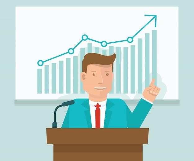 Vektorgeschäftskonferenzkonzept in der flachen art Premium Vektoren