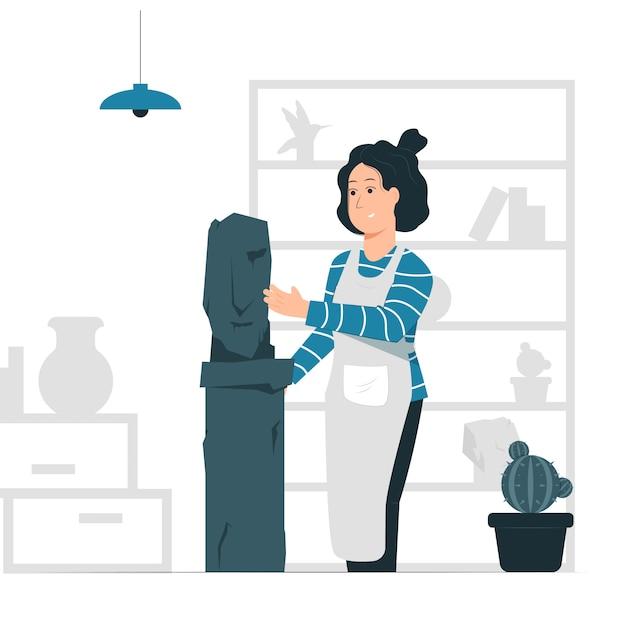 Vektorgrafik der konzeptillustration eines frauen / bildhauers, der eine statue macht. Premium Vektoren