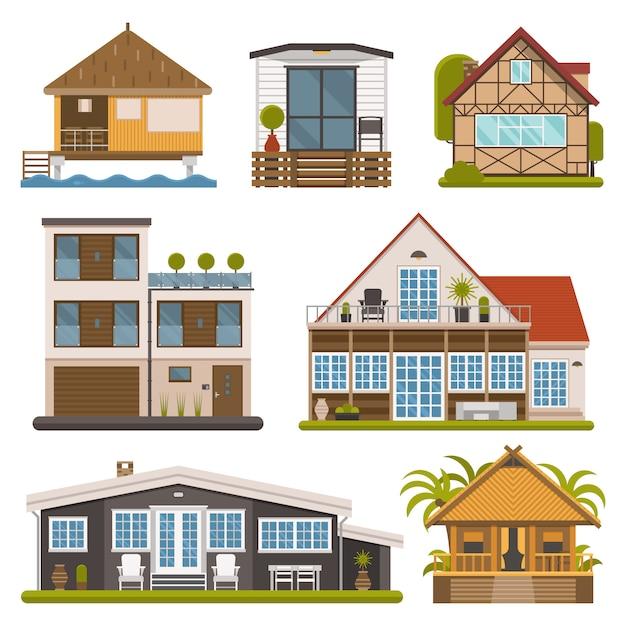 Vektorhaus und wohnungsset. touristenhäuser isoliert. Premium Vektoren
