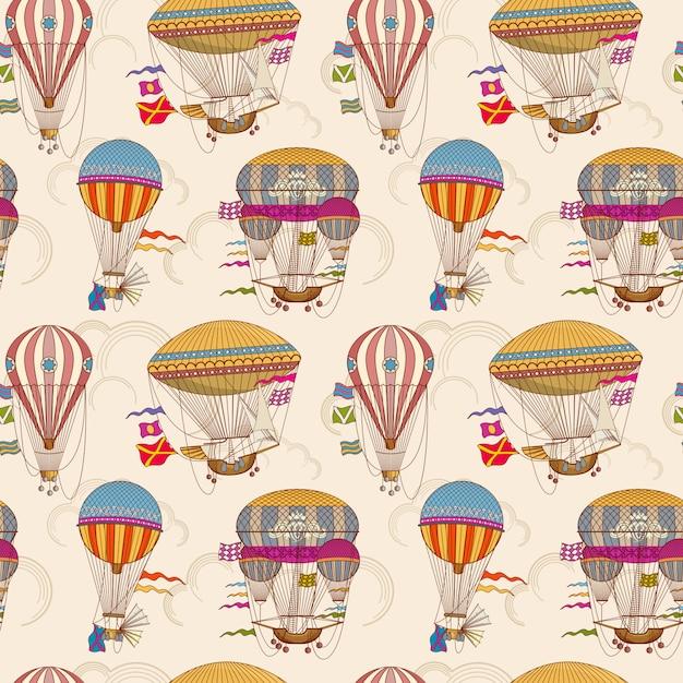Vektorhintergrund der nahtlosen kinder der retro- luftballone nahtlose Premium Vektoren