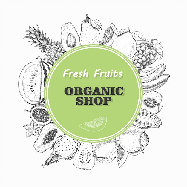 Vektorhintergrund mit lokalisierten früchten in einem kreis Premium Vektoren