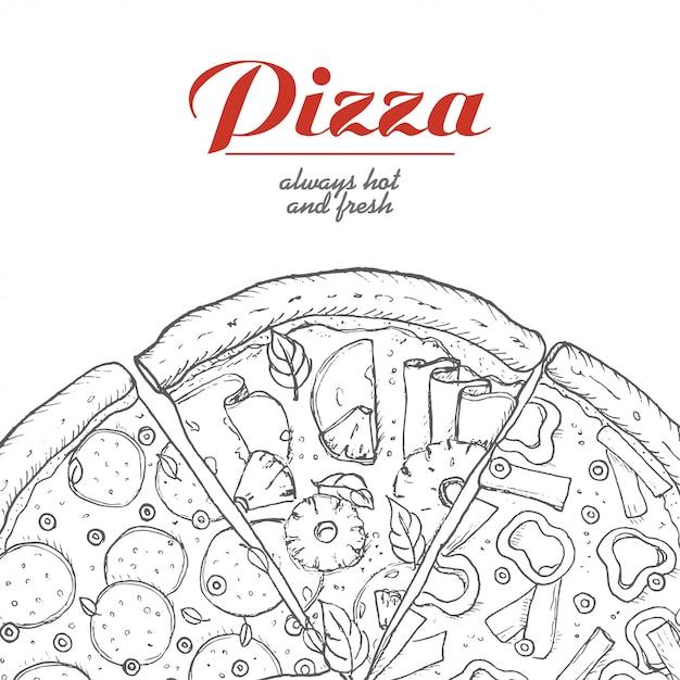Vektorhintergrund mit stücken pizza Premium Vektoren