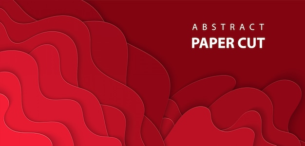Vektorhintergrund mit tiefrotem farbpapierschnitt Premium Vektoren