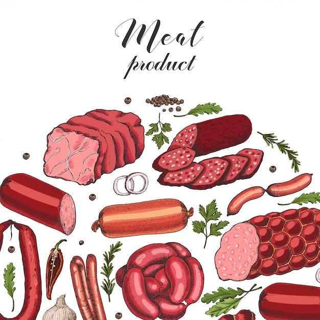 Vektorhintergrund mit verschiedenen farbfleischerzeugnissen Premium Vektoren