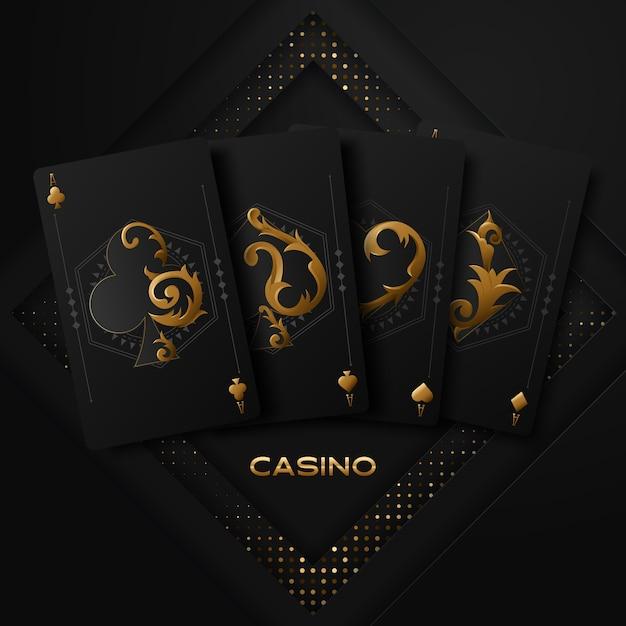 Vektorillustration auf einem kasinothema mit pokersymbolen und pokerkarten auf dunklem hintergrund. Premium Vektoren