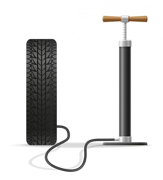 Vektorillustration der autohandluftpumpe auf lager Premium Vektoren