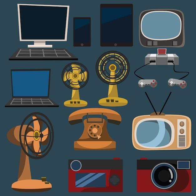 Vektorillustration der elektronik eingestellt Premium Vektoren