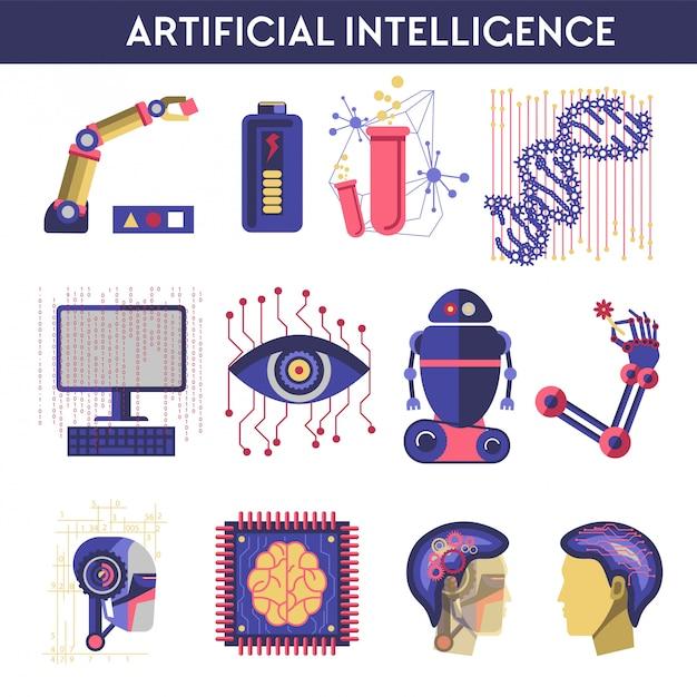Vektorillustration der künstlichen intelligenz des menschlichen verstandes des roboters Premium Vektoren