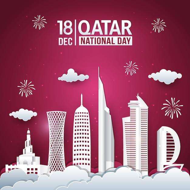 Vektorillustration der nationalfeiertagsfeier des 18. dezember in katar mit skyline der stadt Premium Vektoren