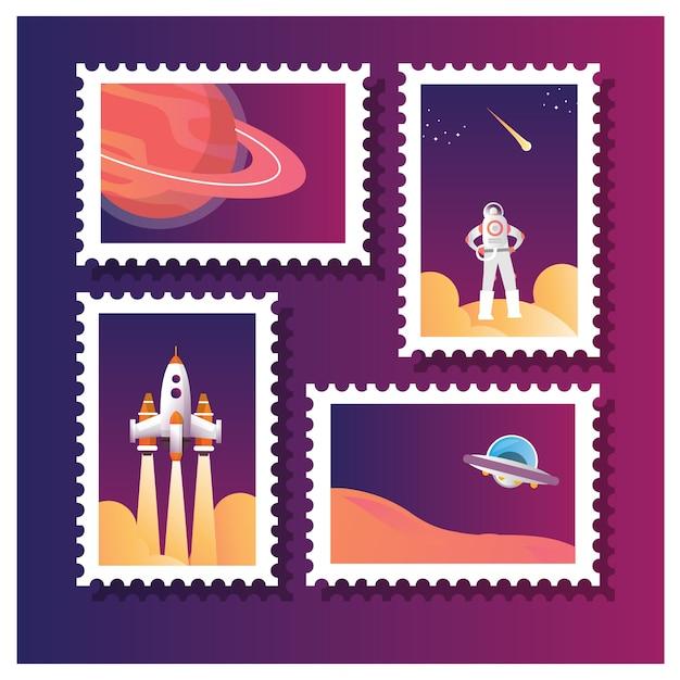 Vektorillustration der satzsammlung der briefmarke für astronauten und anderes weltraumleben Premium Vektoren