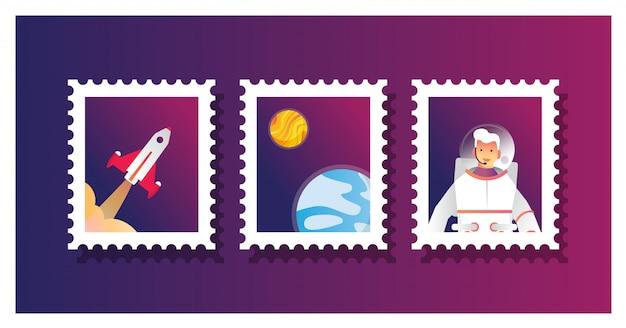 Vektorillustration der satzsammlung der briefmarke für astronauten Premium Vektoren