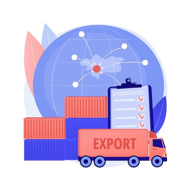 Vektorillustration des abstrakten konzepts der exportsteuerung. lizenzierungsdienste, export von waren, software und technologie, nationale sicherheit, lagerhaltung, logistikindustrie, abstrakte metapher für fracht. Kostenlosen Vektoren