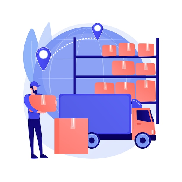 Vektorillustration des abstrakten transit-warehouse-konzepts. zolllager, warentransfer, transportgeschäft, versandterminal, internationale logistik, abstrakte metapher für import und export. Kostenlosen Vektoren