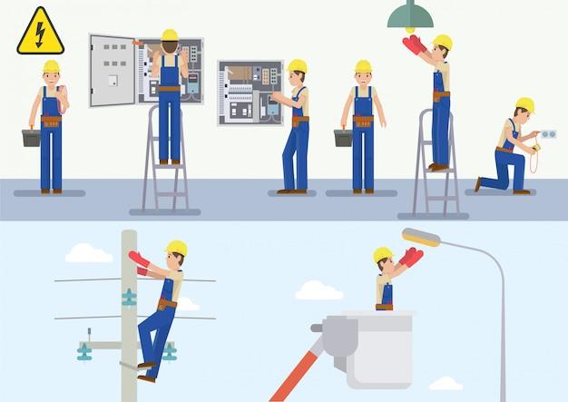 Vektorillustration des elektrikers bei der arbeit Premium Vektoren