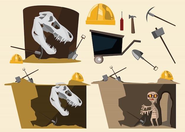 Vektorillustration des fossils und der mama und des werkzeugs gesetzte Premium Vektoren