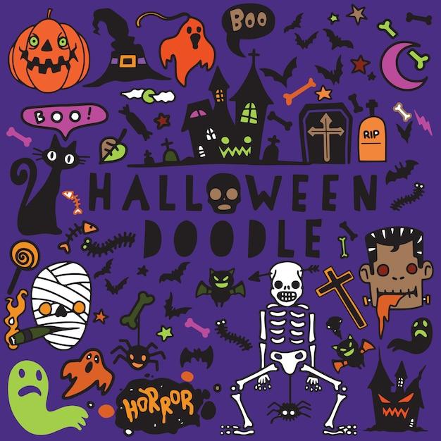 Vektorillustration des gekritzel-halloween-plakatdesignsatzes, hand Premium Vektoren