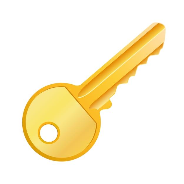 Vektorillustration des goldenen schlüssels lokalisiert Premium Vektoren