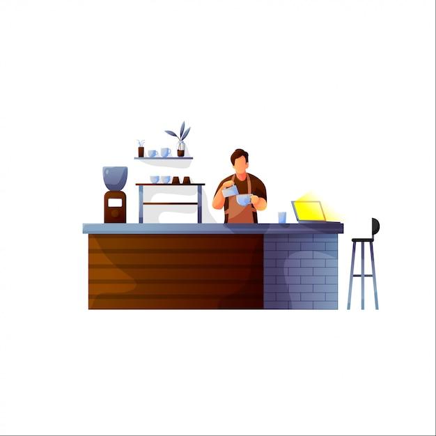 Vektorillustration des kaffeestubegestaltungselements mit dem barista, das hinten vom barzähler steht Premium Vektoren