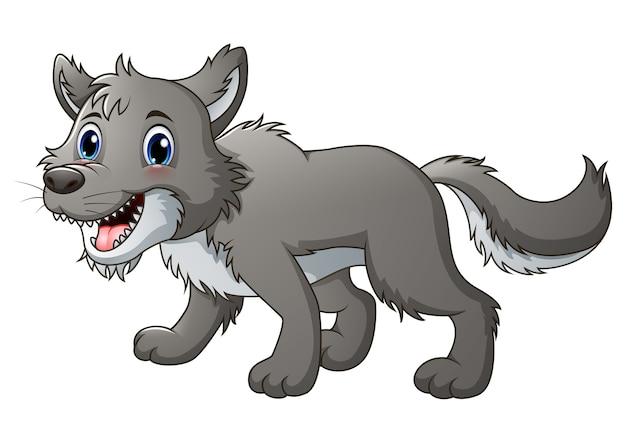 Vektorillustration des lächelnden wolfs karikatur Premium Vektoren