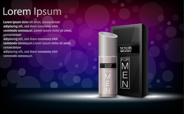Vektorillustration des paketkastens mit kosmetischer flasche Premium Vektoren
