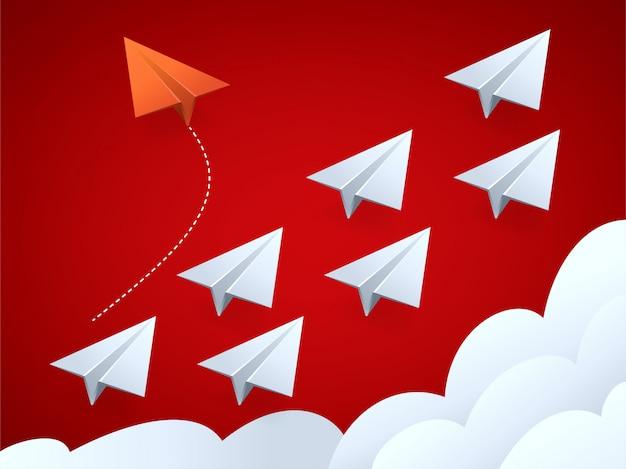 Vektorillustration des roten flugzeugs des minimalistischen stils, das richtung ändert, und weiße Premium Vektoren