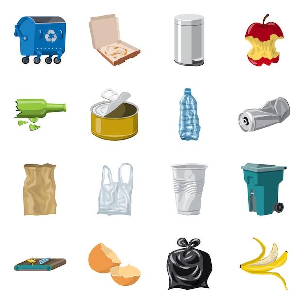 Vektorillustration des umwelt- und abfallsymbols. satz von umwelt und ökologie festgelegt Premium Vektoren