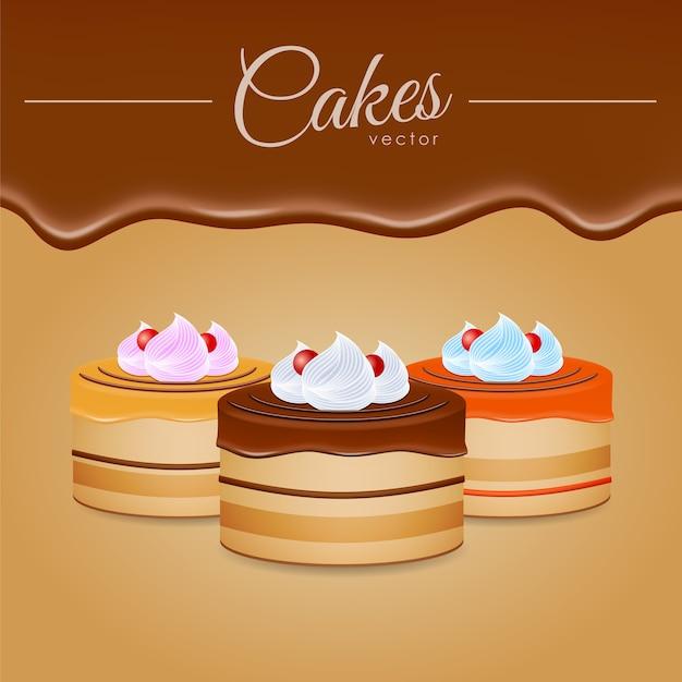 Vektorillustration: drei kuchen mit schokolade Premium Vektoren