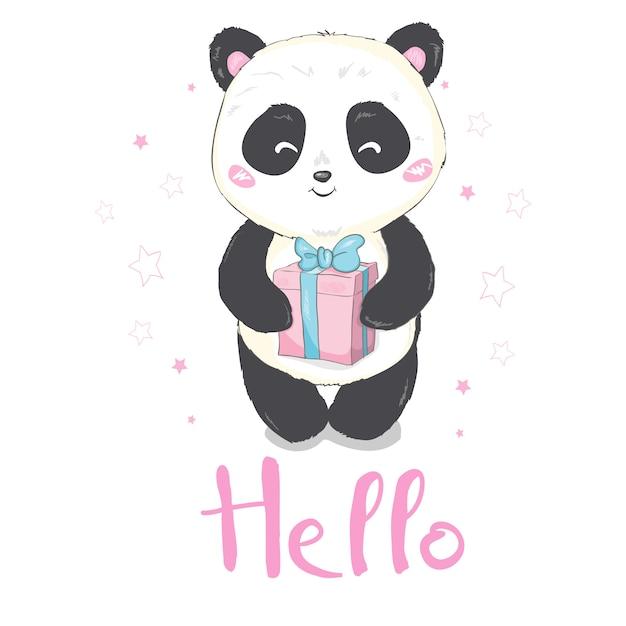 Vektorillustration: ein niedlicher karikaturriesenpanda sitzt aus den grund und haftet zunge heraus, mit einer niederlassung von bambusblättern in der hand Premium Vektoren