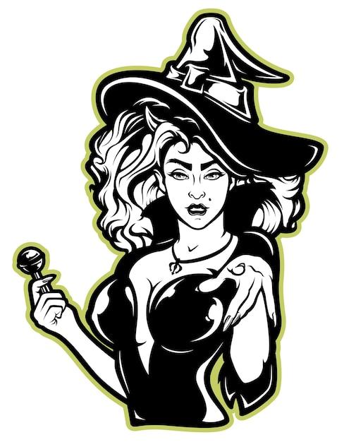 Vektorillustration einer hexe für halloween auf weiß Premium Vektoren