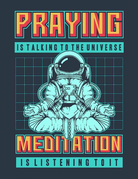 Vektorillustration eines astronauten, der meditation im raum mit retro 90s farben und raum tut. Premium Vektoren
