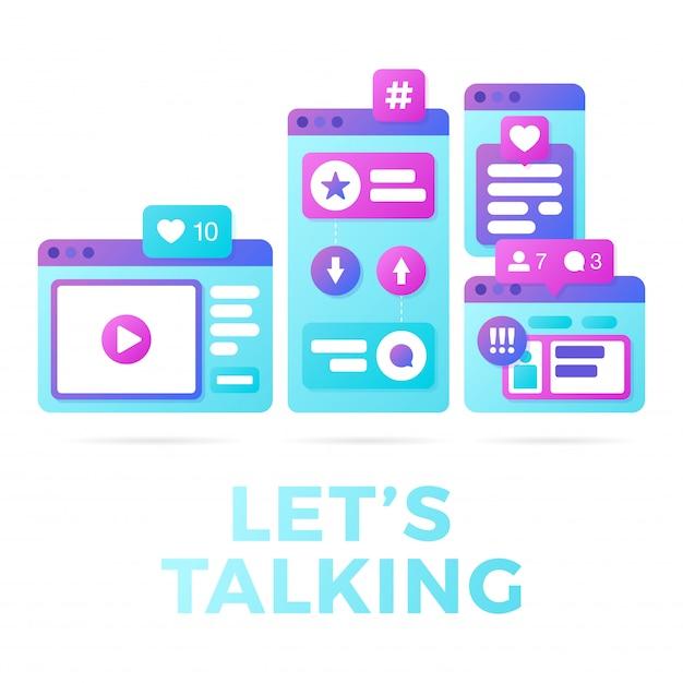 Vektorillustration eines social media-kommunikationskonzeptes. das wort ermöglicht die kommunikation mit farbenfrohen, plattformübergreifenden browserfenstern Premium Vektoren