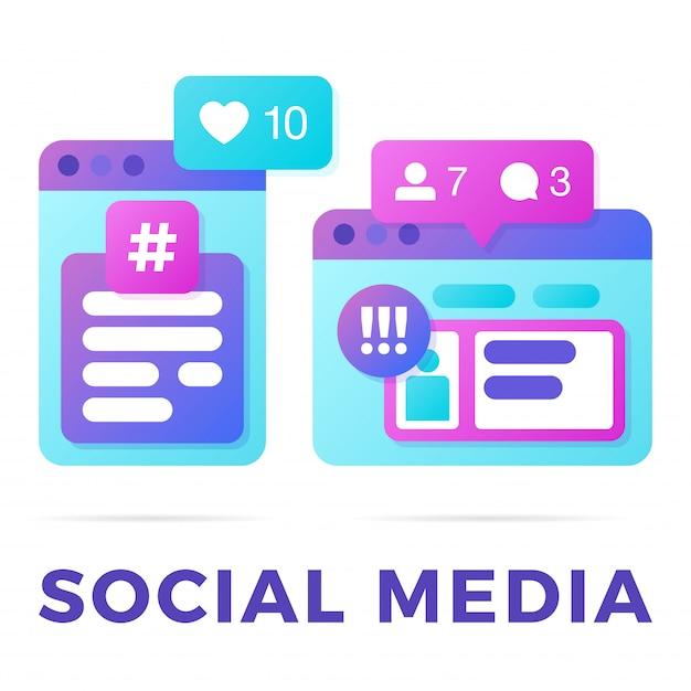 Vektorillustration eines social media-kommunikationskonzeptes. das wortsocial media mit bunten plattformübergreifenden browserfenstern Premium Vektoren