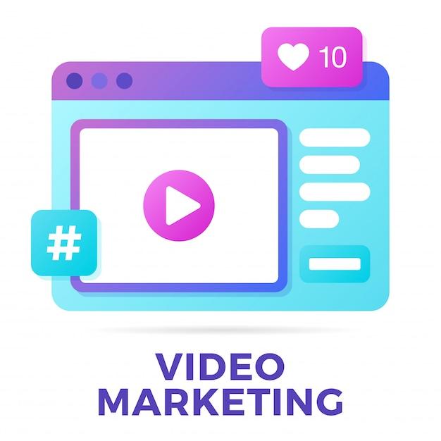 Vektorillustration eines social media-kommunikationskonzeptes. videomarketing-wort mit sozialer aktivität in einer mitteilungsblase. Premium Vektoren