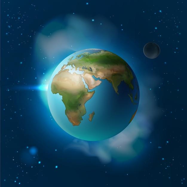 Vektorillustration isolierte planetenerde im raum mit mond und sternen Kostenlosen Vektoren