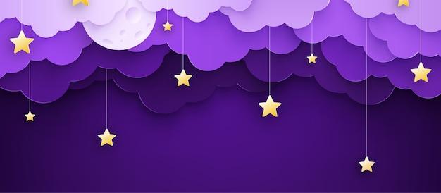 Vektorillustration. karikatur kindlicher hintergrund mit wolken und sternen auf schnüren. Premium Vektoren
