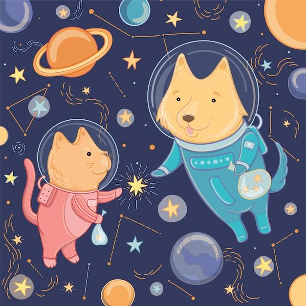 Vektorillustration mit niedlichem hund und katze im raum. vorlage für design. illustration für den tag der kosmonautik. Premium Vektoren