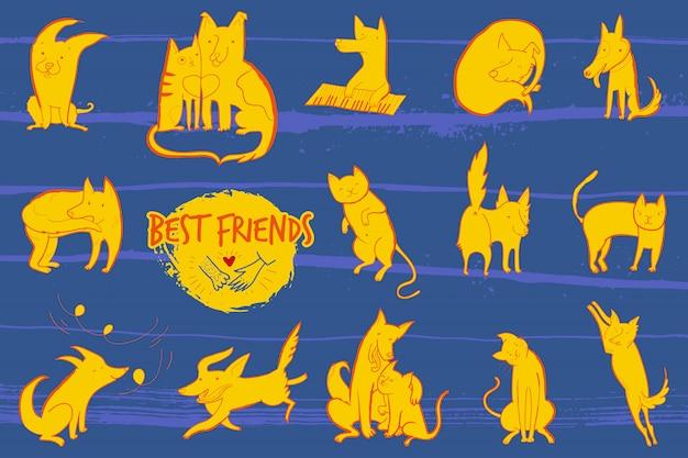 Vektorillustration mit satz niedliche zeichen hunde und katzen Premium Vektoren
