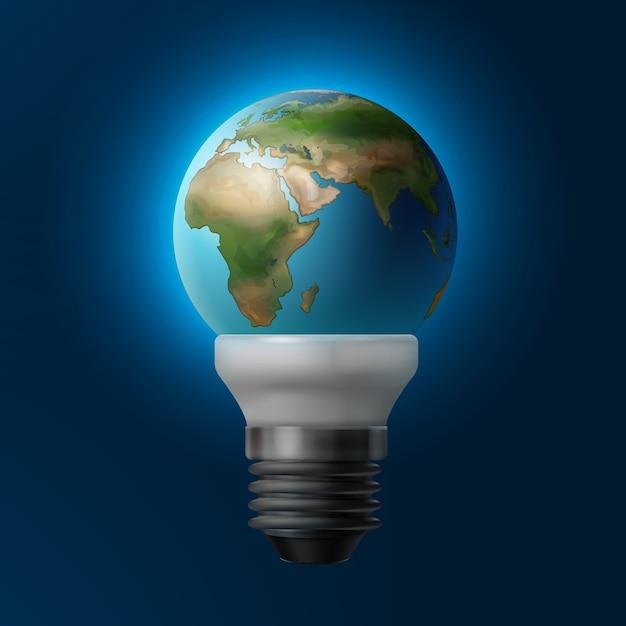 Vektorillustration planet erde innerhalb der energiesparlampe lokalisiert auf blauem hintergrund Kostenlosen Vektoren